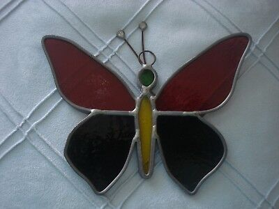 Stained Glass Ornament Butterfly Green Red Yellow Yard Window Decor Sun Catcher