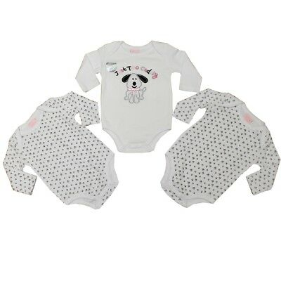 Baby Girl 3 Pack Long Sleeve Bodysuit/vests Elephant, Puppy NB 0-3,3-6,6-9,9-12