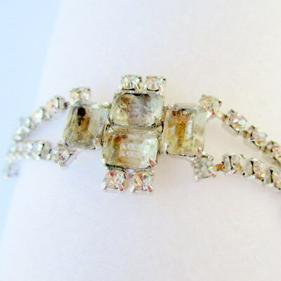 Vintage Geometric Rhinestone Bracelet, Bridal Jewelry, Fashion Jewelry