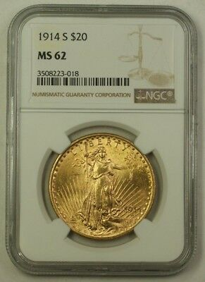1914-S US St. Gaudens Double Eagle $20 Gold Coin NGC MS-62