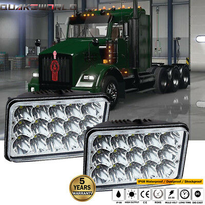 "DOT 4x6"" LED Headlights for Kenworth T400 T600 T800 W900L W900B Classic 120/132"