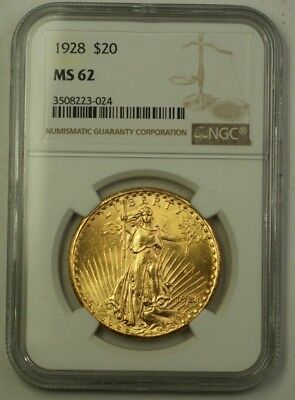 1928 US St. Gaudens Double Eagle $20 Gold Coin NGC MS-62 (Better)