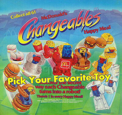 LOOSE McDonald's 1987 CHANGEABLES Robot CHANGEABLE Food Transformer PICK UR TOY