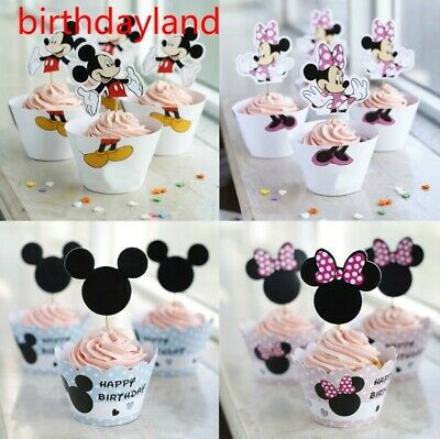 Minnie Mouse Paper Cupcake Wrappers & Toppers For Kids Birthday Party 24Pcs