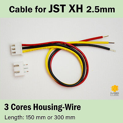JST XH 2.5mm XH 3-Pin Cable with JST Header, Premium AWG 22 PVC Wires #MadeInUK