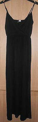 H&M Black Semi Fitted Fully Lined Strappy Long Dress size Small