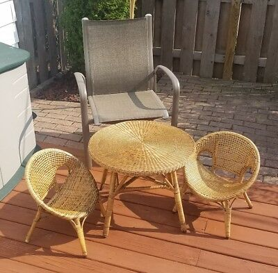 Children size Vintage Rattan Bamboo Wicker Dining Table and 2 Chairs.