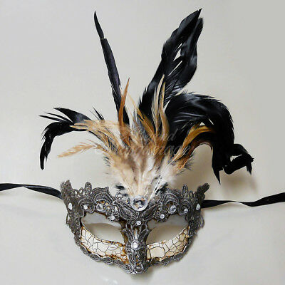 Masquerade Mask Feather Gold Lace Venetian Mardi Gras Masks for Women - Silver