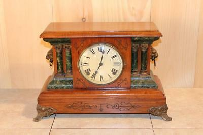 Impressive Antique Sessions 8 Day Mantle Clock ~ Serviced & Running ~