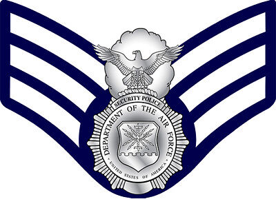 USAF Security Police (SP) Badge and E-4 Stripes Decal