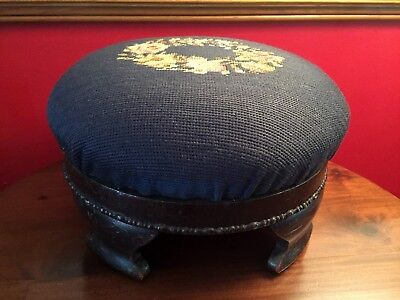 ANTIQUE 19th Century ROUND FOOTSTOOL Foot Stool Ottoman NEEDLEPOINT Floral