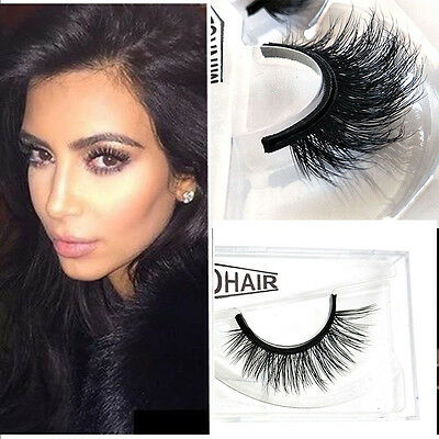 2pcs 3D Real Mink Natural Thick Hair Fake Eye Lashes False Eyelashes Makeup