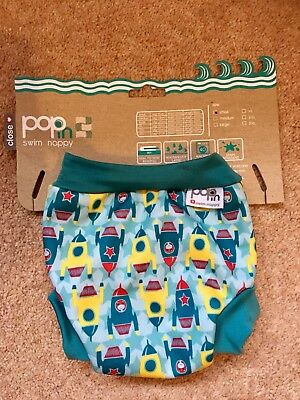 Pop In Swim Nappy Size Small Boys Cute Rocket Design Brand New