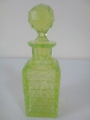 Victorian Cut Yellow Uranium / Vaseline Glass Perfume / Scent Bottle