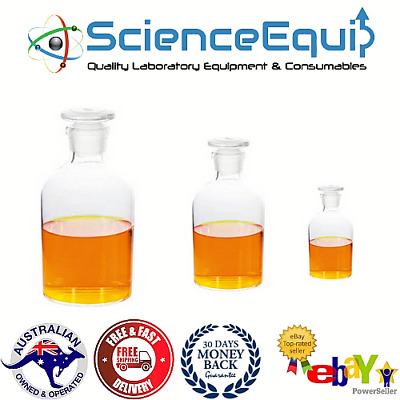 Reagent Bottles Borosilicate Clear Glass, With Glass Stopper, 7 Sizes