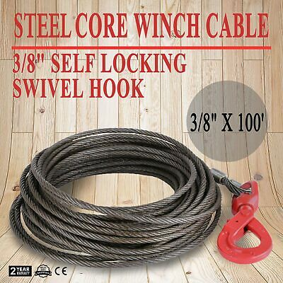 "3/8"" x 100' Fiber Core Winch Cable Self Locking Swivel Hook Flatbed HQ Rope"