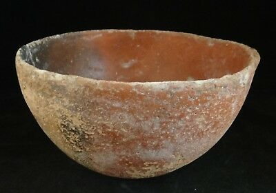 "Ancient Cypriot pottery bowl, 2200 - 1650 BCE. One handle,  6 ¾"" dia. 4"" tall."