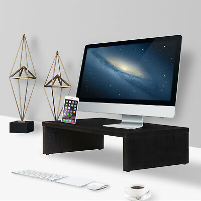 Wood Computer Monitor Stand Desk Laptop Riser Desktop Organizer Space Saver