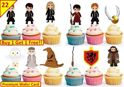 44 Harry Potter Cup Cake Edible Wafer Toppers Kids Birthday Party Decorations