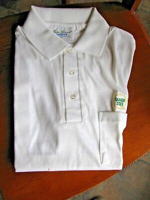VTG Quaker State Polo Golf Shirt Size M Poly Cotton White Embroidered Patch Logo
