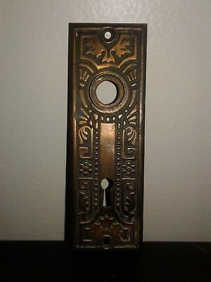 Vintage Copper / Brass Plated Back Plate Skeleton Key Lock Hole Estate Find