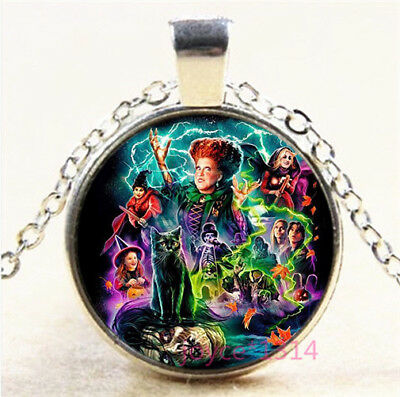 Halloween witch Cabochon Silver/Bronze/Black/Gold Chain Pendant Necklace #7433