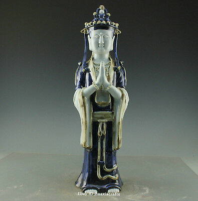 """18"""" Collect China Old Blue and White Porcelain pottery Kwan-yin Sculpture HBHC"""