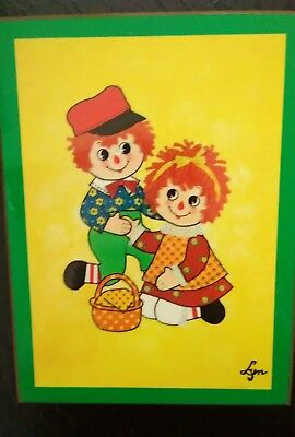 Raggedy Ann and Andy rare vintage wall plaque