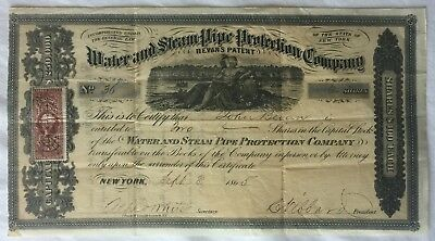 Water & Steam Pipe Protection Co. New York - Very Rare 1865 Stock Certificate