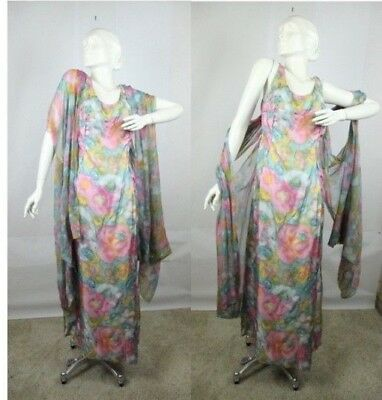 Vintage 60s 70s Gown Dress Pastel Floral Long Sheer Shawl Evening L XL Babs