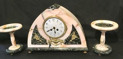 Antique French marble clock garniture deco large japy freres