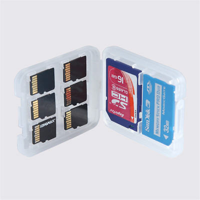 2pcs 8 in 1 Plastic Micro SD Card Case for SDHC TF MS Memory Card Storage Box