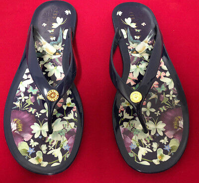 5d0da6136 TED BAKER NAVY  floral Matinee Flip Flops toe Post Sandals Size Uk 8 - £7.50