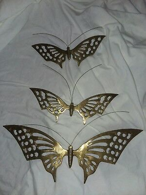 Set Of 3 Vintage Brass Butterfly Wall Hangings Accents