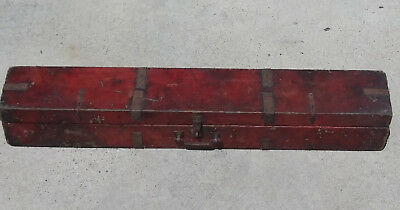 Antique Leather-Over-Wood Tibetan Tanka Thangka Storage Box Red Iron Hardware