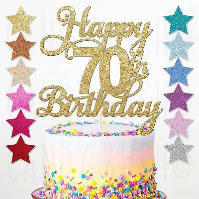 Happy 70th Glitter Birthday Party Cake Topper Sixty Daughter Son Sister Brother