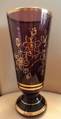 purple glass vase with gilt floral decoration & line work large 25.5 cm tall