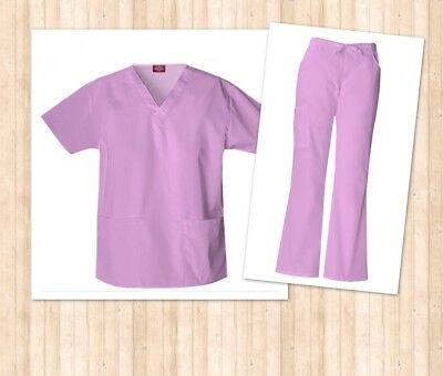 NEW Corz Lavender Dickies Authentic Scrubs Missy Fit Small Top & bottoms UNISEX