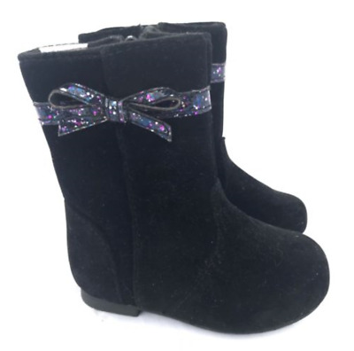 Gymboree Black Suede Boots with Sparkle Bow Size 8  toddler girls NEW