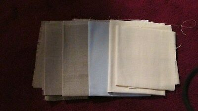 Linen Fabric For Embroidery - Natural, Ivory & Blue - 5 Pieces