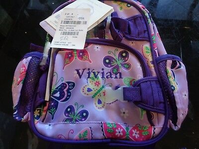 Pottery Barn Kids MacKenzie Pre K backpack lavender butterfly mono Vivian  New