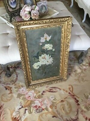 SHABBY Antique VTG Rose Painting WITH GESSO WOOD FRAME VICTORIAN OLD