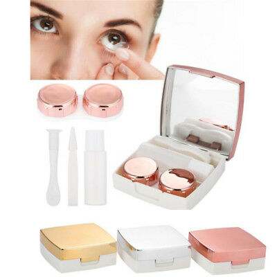 Mini Simple Contact Lens Travel Case Box Container Kit Set Holder With Mirror HQ