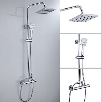 Thermostatic Shower Mixer Chrome Bathroom Exposed Twin  Square Head Valve Set