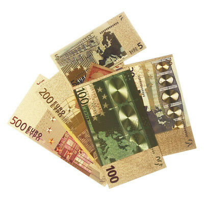 7Pcs/Set Euro Banknote Gold Foil Paper Money Collection Bank Note Currency Gifts