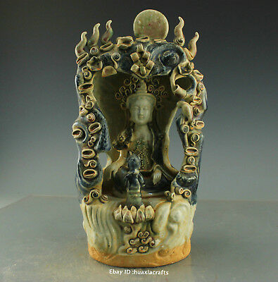 """14"""" Collect China Old Blue and White Porcelain pottery Kwan-yin statue HBHC"""
