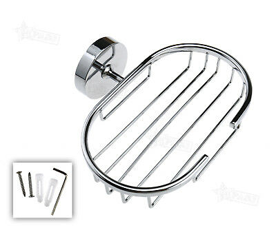 Stainless Wall Soap Holder Dish Basket Tray Bathroom Shower Cup With Screw