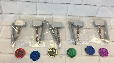 Marvel Infinity Dig It Avengers Set of 6 Coins and 5 Thor Hammer Tool Kits