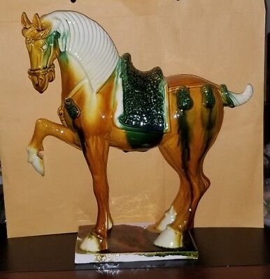 VINTAGE/ANTIQUE Sancai Tang Dynasty Style Saddle Horse Sculpture