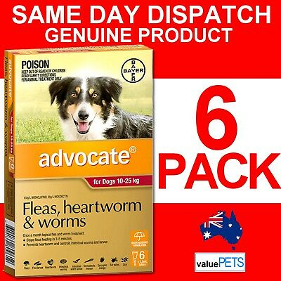 Advocate Red 6 Pack for Large Dogs 10-25kg Heartworm Flea Treatment